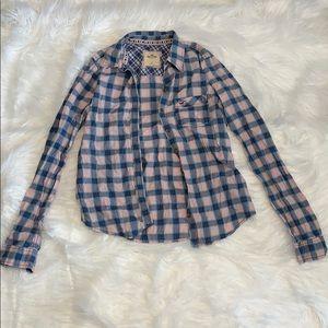 Hollister Pink and Blue Plaid Button-Up Shirt